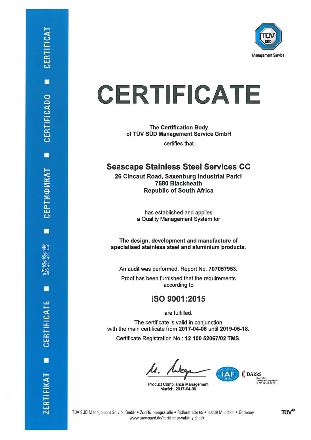 Seascape Stainless Steel Services TUV ISO certificate